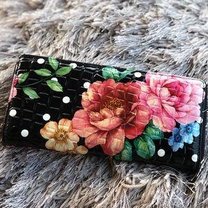 Handbags - Floral Patent Leather Crocodile Embossed Wallet